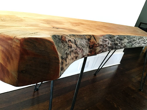 I really wanted to keep the bark edge- I think it adds a lot to the look of the bench
